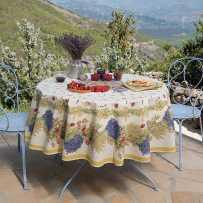 Floral tablecloth printed Roses et lavandes in scene