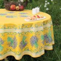 Nappe ronde en coton, imprimé provençal Bouquet de lavandes