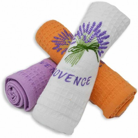 Kitchen towels and dishcloths, honeycomb, pattern Lavande