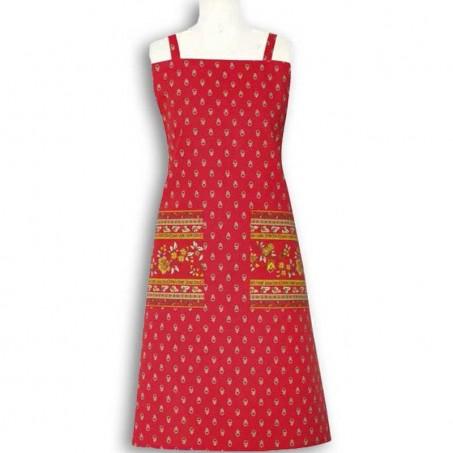 Kitchen apron Avignon print by Marat d'Avignon red